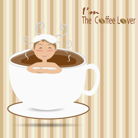 Male bathing in a cup of coffee like an onsen