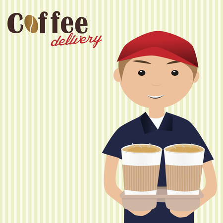 Boy holding cups of coffee for delivery Vector