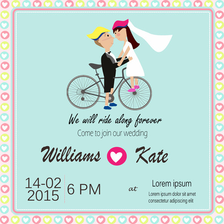Bicycle lover couples wedding invitation Illustration