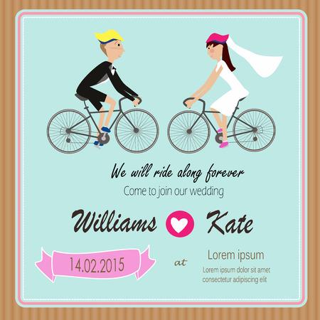 enamorados caricatura: Bicicletas invitaci�n parejas amante boda Vectores