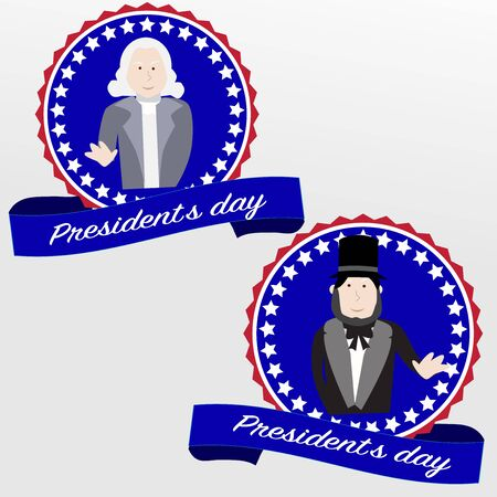 george washington: Happy Presidents day badges George Washington and Abraham Lincoln Illustration