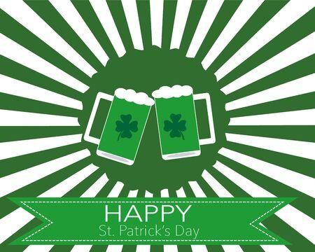 The glasses of beer to celebrate St. Patrick\\ Illustration