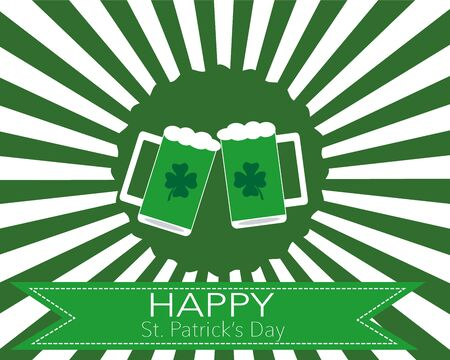 st patricks party: The glasses of beer to celebrate St. Patrick\\ Illustration