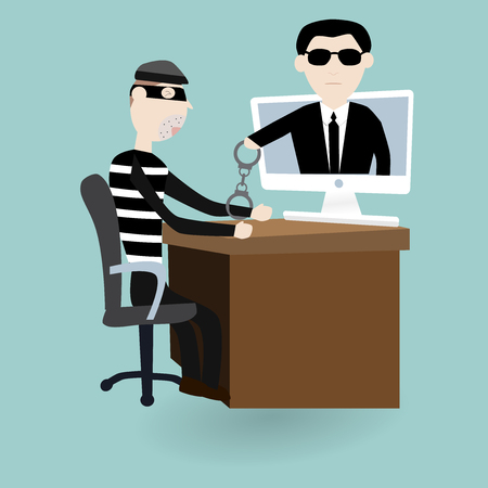 under arrest: The digital thief was under arrest with police