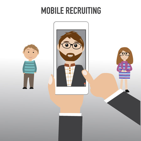The hipster man with the mobile recruitment