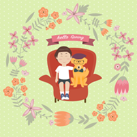 Kid with golden retriever dog on the sofa with vintage flower wreath and hello spring word Ilustração