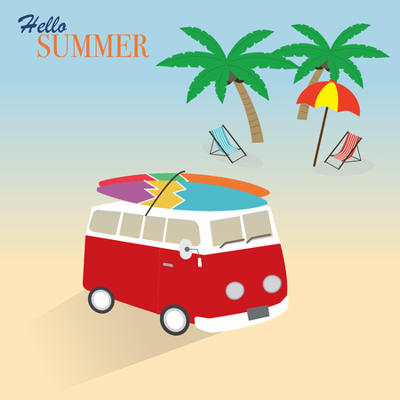 The car carry the surfboard for summer time Vector