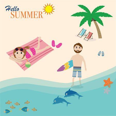 sun bathing: Hipster man play the surf board and girl sun bathing on the beach Illustration