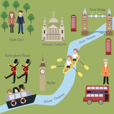 London map in cartoon style