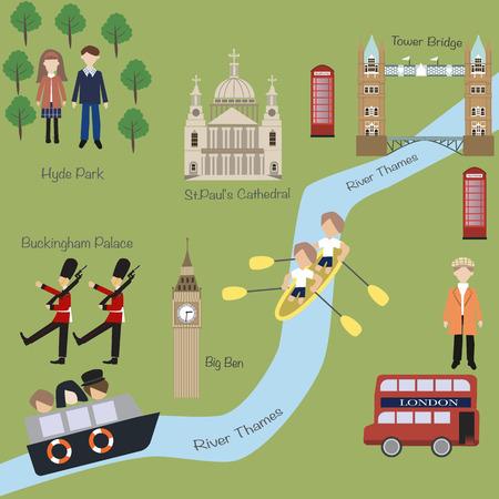Londra mappa in stile cartone animato Archivio Fotografico - 39378097