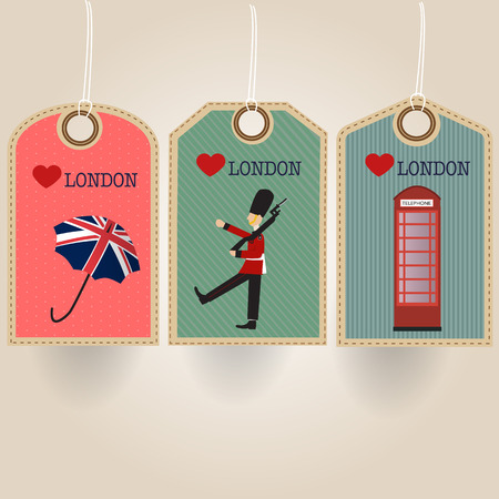 telephone booth: London tag with royal guard umbrella and telephone booth Illustration