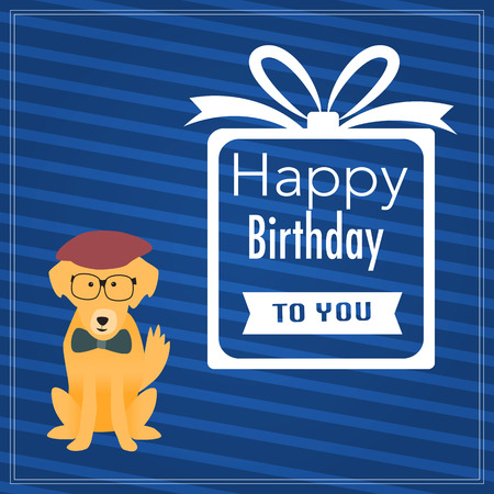 The hipster dog with happy birthday word Vector