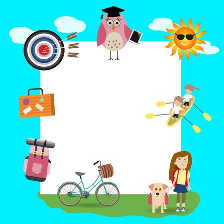 Children in the summer camp background Illustration
