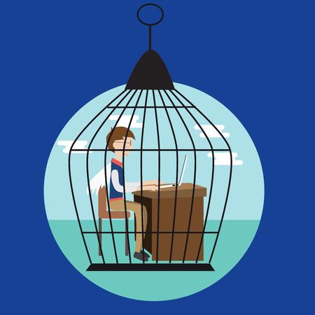 awkward: Hombre de negocios en la jaula de p�jaros