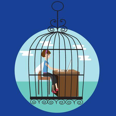 awkward: Mujer de negocios en la jaula de p�jaros Vectores