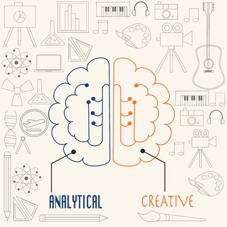 music education: Left side and right side  brain concept in linear style