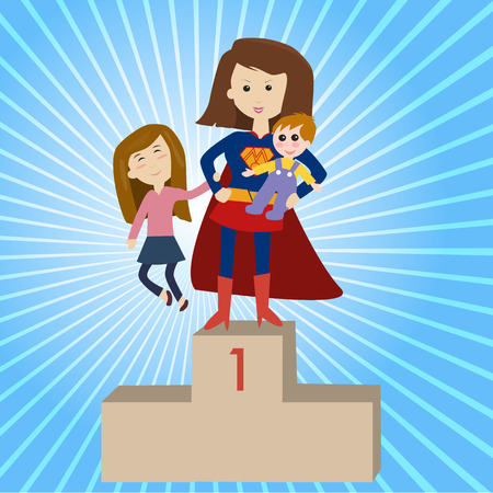 mamá hijo: Mi mamá es un súper héroe Vectores