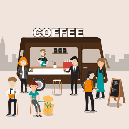 People meeting in the coffee food truck infographics elements.illustrator EPS10.with barista and servant staff Иллюстрация