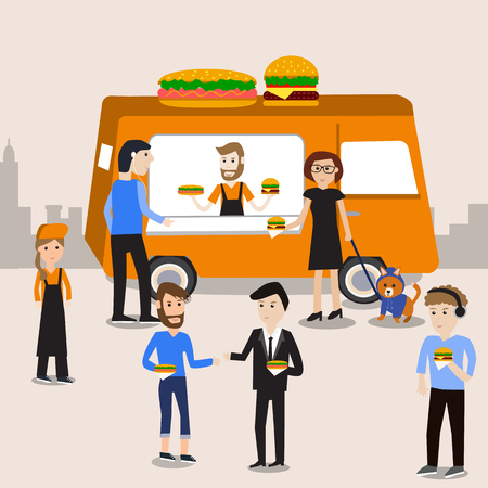People meeting in the burgers and hot dogs food truck  infographics elements.illustrator EPS10.with chef and servant staff