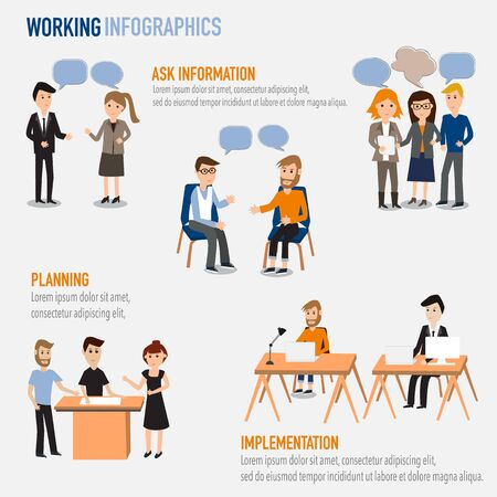 People working in the co-working space infographics elements.illustrator EPS10.Ask information,Planning,Implementation  イラスト・ベクター素材