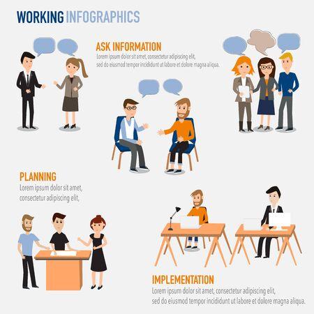 Le persone che lavorano nei infografica spazio di co-lavoro elements.illustrator informazioni EPS10.Ask, progettazione, realizzazione Archivio Fotografico - 42013355