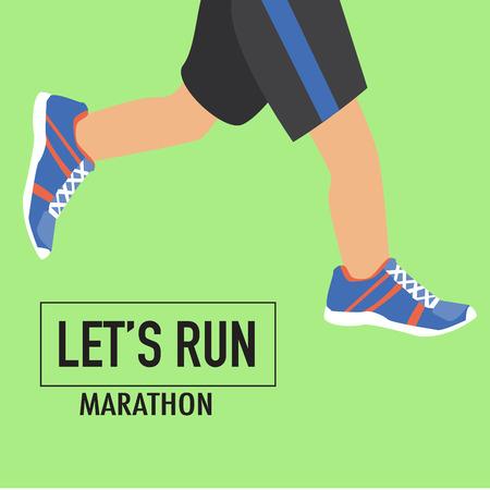 人間遅れポスターとマラソンの靴を実行します。  イラスト・ベクター素材