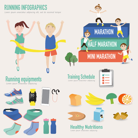 Running infographic with male and female in the finish line and show type of running from mini,half and full marathon. equipments are smart watch,mobile,shoes,hats,water bottle,socks ,healthy nutritions food,training schedule Vectores