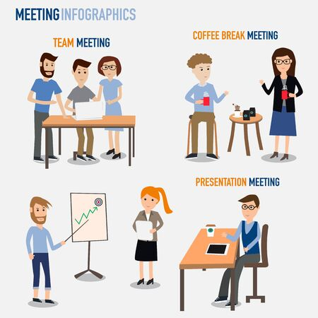 office space: People working in the co-working space infographics elements.illustrator EPS10. Team,coffee break,presentation meeting.