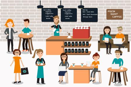 커피 숍 infographics입니다 elements.illustrator EPS10.with의 바리 스타와 종 직원에있는 모임 사람들