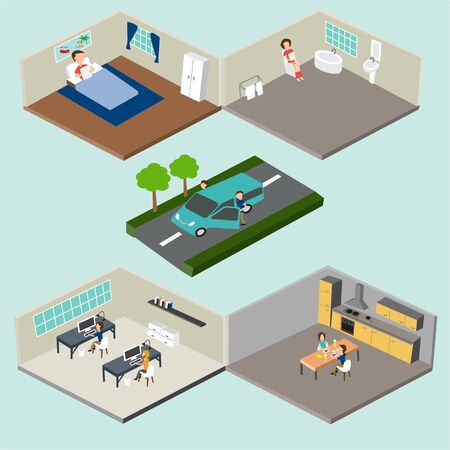 home office interior: Flat 3d isometric abstract home and office floor interior departments concept vector. bedroom, toilet, working sapce, dining room  and kitchen. and show two workers going to work with car.