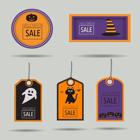 drawback: Halloween sale badges with spooky,cat,pumpkin lantern and witch hat vector. illustration EPS10.