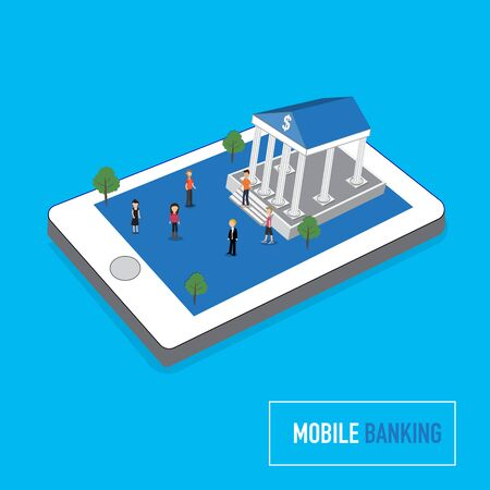 banking concept: Mobile banking concept with micro people on smart phone touch screen flat 3d web isometric concept vector. illustration.