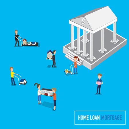 banking concept: Home loan or mortgage banking concept with micro people carry the houses to the bank.flat 3d web isometric concept vector. illustration EPS10.