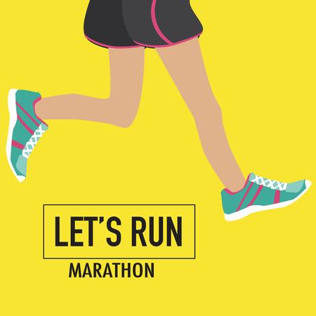 Running poster met menselijke vertragingen en hun schoenen voor marathon