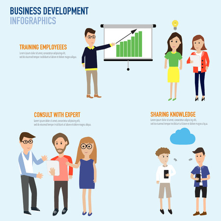 financial consultant: Business development infographics with training employee,consult with expert and sharing knowledge on cloud concept  vector. illustration EPS10.