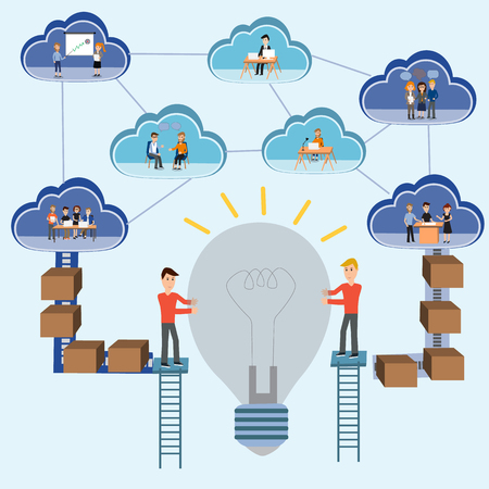 operative system: Cloud computing concept.e-business.Successful teamwork for the big idea.illustration EPS10.