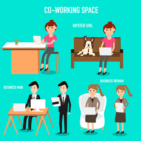 People working in the co-working space infographics elements.illustrator EPS10.hipster women with french bulldog,business man and women