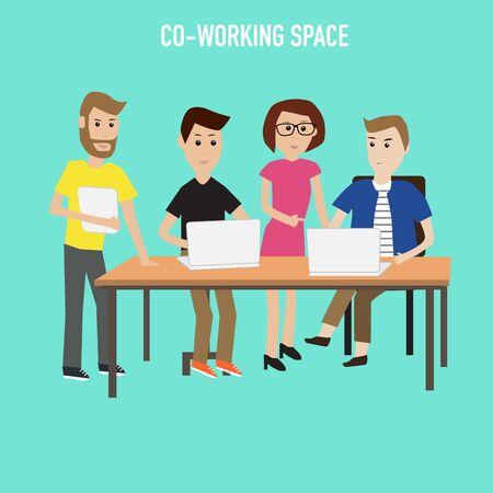 Las personas que trabajan en las infografías espacio co-working elements.illustrator EPS10. Foto de archivo - 44187786