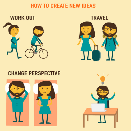 new ideas: How to create new ideas vector work out, travel,change perspective. illustration EPS10.
