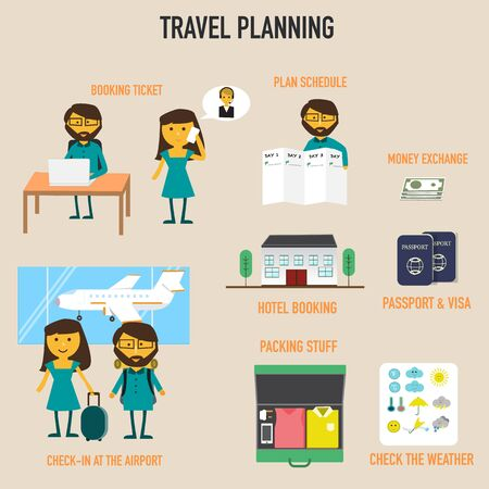 hotel booking: Travel planning with booking ticket,schedule plan,hotel booking,money exchange,passport and visa,check weather,packing stuff vector. illustration EPS10