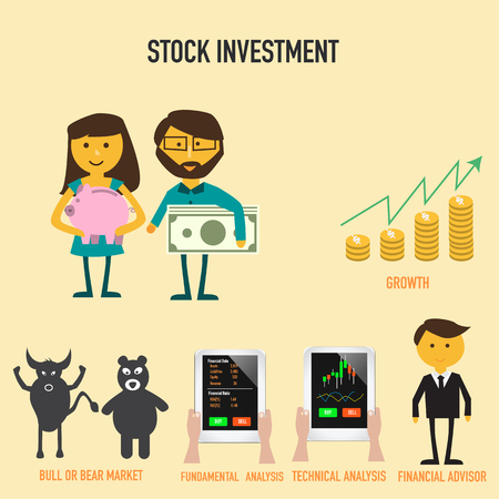 advisor: Stock investment infographics with growth of money , bull or bear market,financial advisor ,technical or fundamental analysis vector. illustration EPS10