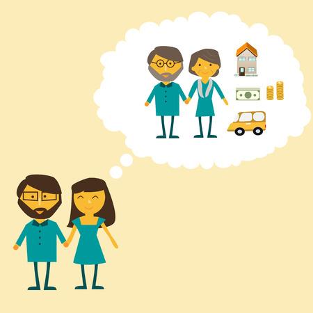 Paar dromen over het pensioen leven vector. illustratie EPS10 Stock Illustratie