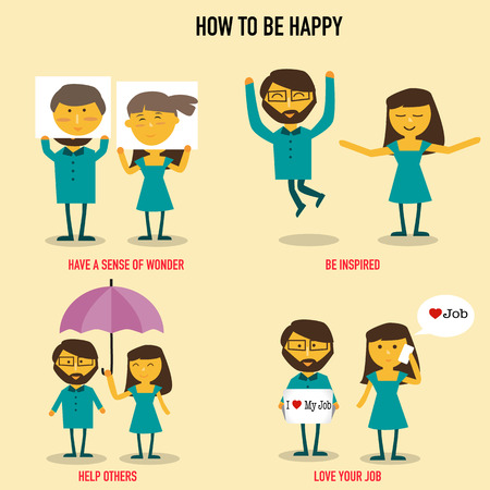 How to be happy with have a sense of wonder,help others,be inspired,Love your Job, infographics vector. illustration EPS10. Иллюстрация
