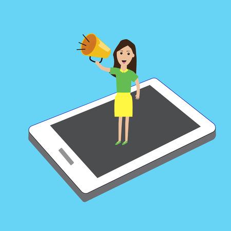 retailing: Mobile digital marketing concept  women hold the speaker on the smartphone vector.  Illustration