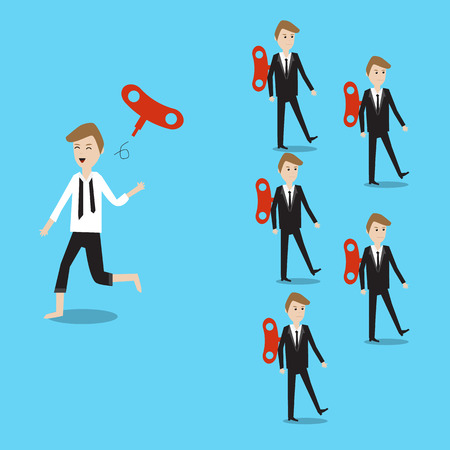 employment issues: Businessman running different way with others and throw away the Wind-Up Key feeling free and have freedom in his life  eps10 vector. illustration EPS10.