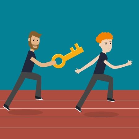 quickness: Working people on the relay race competition  together with the key  for make the successful jobs   eps10 vector. illustration EPS10.