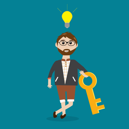 feeling good: Hipster man feeling good because he has the key to win the ideas in his work  Illustration