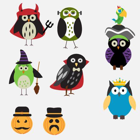 isolated owl: Spooky Halloween Owls vector. illustration EPS10.