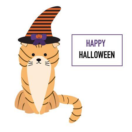 Gato en el vector de Halloween sombrero. ilustración EPS10. Foto de archivo - 44491833