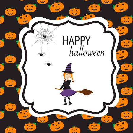 Happy Halloween background with cute little witch  vector. illustration EPS10.